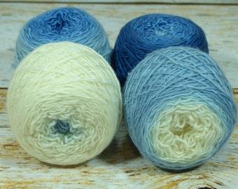 "Colorwork Set "" Heirloom China "" - Llift SW Merino Handpainted Gradient Single Ply Yarn Fingering Weight"