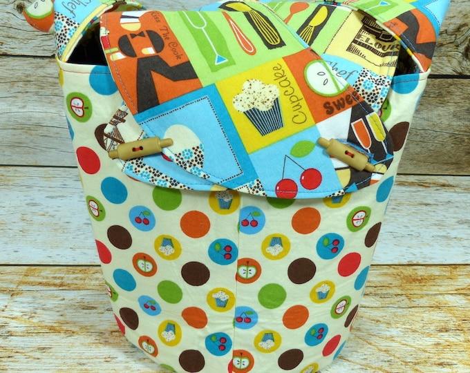 Kitchen Kitsch -Medium Llayover Knitting Tote/Knitting, Spinning, Crochet Project Bag
