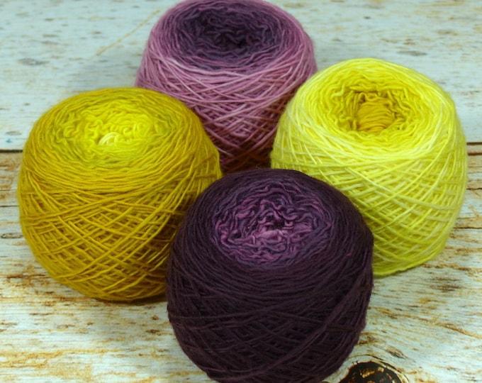 "Colorwork Set "" Throne Room "" - Llift SW Merino Handpainted Gradient Single Ply Yarn Fingering Weight"