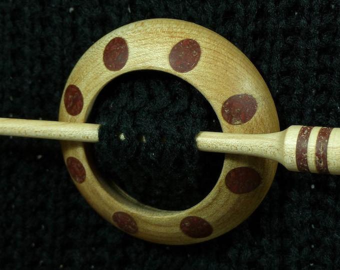 Llarissa Hand Turned Maple / Red Jasper Wood Shawl Pin Set