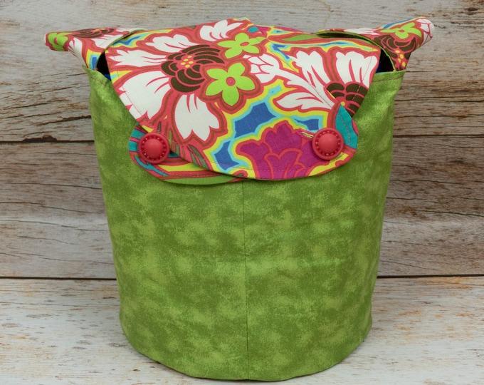 Pop Art Nouveau Floral - Medium Llayover Knitting Tote / Knitting, Spinning, Crochet Project Bag