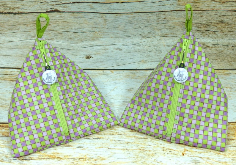 Green /& Purple Check Llexical Notions Pouch Spinning Accessory Bag Crochet Knitting