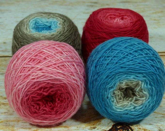 "Colorwork Set "" Scheherazade "" - Llift SW Merino Handpainted Gradient Single Ply Yarn Fingering Weight"