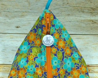 Orange & Aqua Small Floral Kimono - Llexical Notions Pouch - Knitting, Crochet, Spinning Accessory Bag