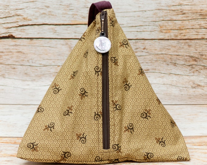 Antique Gold Hexagon Swirl - Llexical Divided Sock Pouch - Knitting, Crochet, Spinning Project Bag