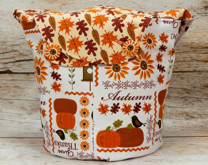Give Thanks - Medium Llayover Knitting Tote / Knitting, Spinning, Crochet Project Bag