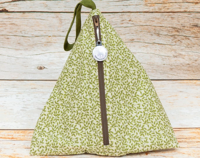 Olive Branches - Llexical Divided Sock Pouch - Knitting, Crochet, Spinning Project Bag