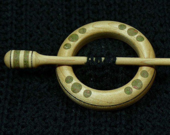 Llarissa Hand Turned Maple / Unakite Wood Shawl Pin Set