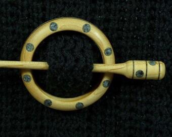 Llarissa Hand Turned Maple / Snowflake Obsidian Wood Shawl Pin Set
