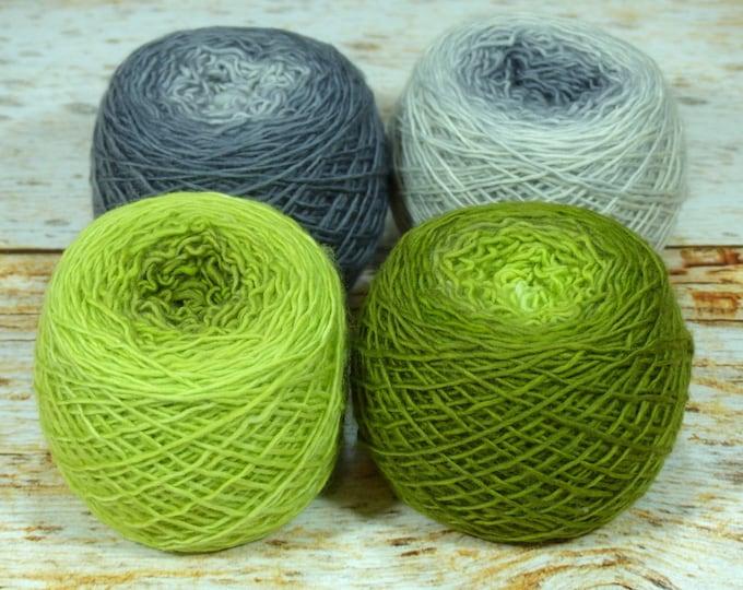 "Colorwork Set "" Uroborus "" - Llift SW Merino Handpainted Gradient Single Ply Yarn Fingering Weight"