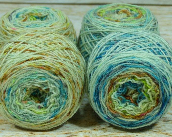 "Fraternal Sock Twins "" Urban Decay "" - Llark SW BFL/Nylon Speckle Gradient Sock Yarn Set"