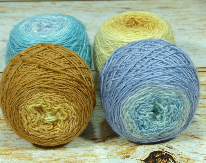 "Colorwork Set "" Luck Dragon "" - Llift SW Merino Handpainted Gradient Single Ply Yarn Fingering Weight"