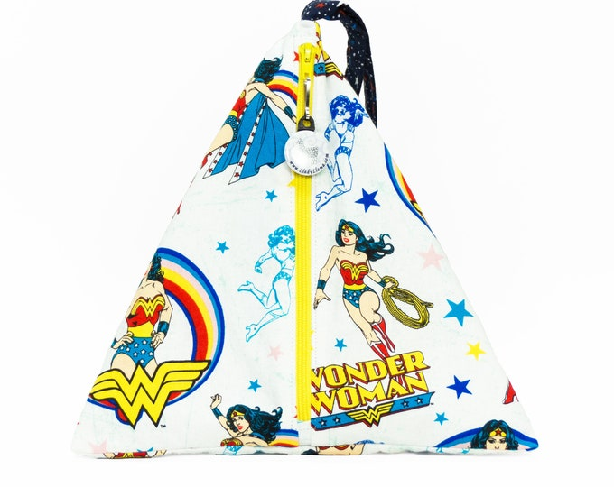 Wonder Woman - Llexical Divided Sock Pouch - Knitting, Crochet, Spinning Project Bag