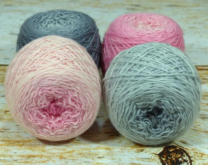 "Colorwork Set "" Clara's Dream "" - Llift SW Merino Handpainted Gradient Single Ply Yarn Fingering Weight"