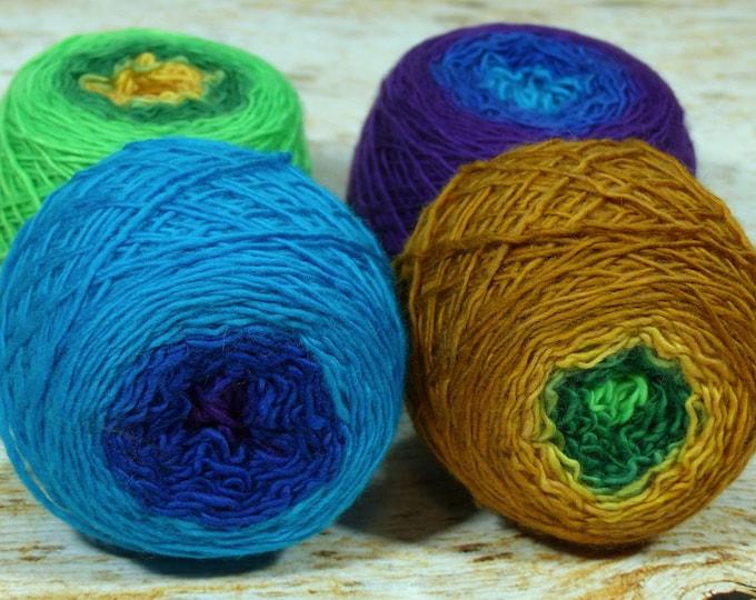 "Colorwork Set "" Peacock "" - Llift SW Merino Handpainted Gradient Single Ply Yarn Fingering Weight"