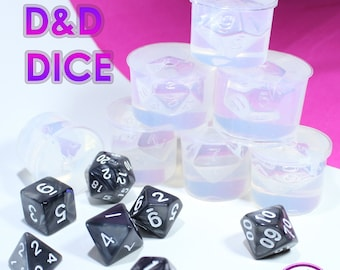 Dungeons and Dragons Gamer Dice / Die Mold Silicone Rubber; D4, D6, D8, D10, D12, D20, D100