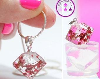 Pendant Pendulum Mold Flat Diamond Shaped Crystal Silicone Rubber Mold
