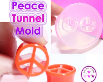 Peace Sign Ear Tunnel Gauge Mold; Ear Plug Piercing Silicone Rubber Mold; The mold contains 22,20,18,16,14,12,10 or 8 mm plugs
