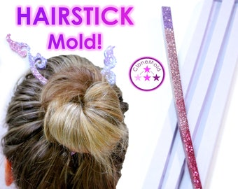 Hair Stick Mold; Chop Stick Style Hair Pin / Hair Fork /  Hairstick Silicone Rubber Mold
