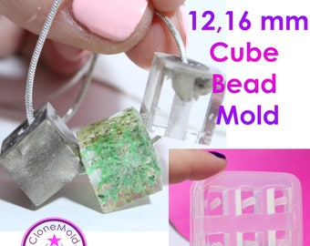 Cube Bead Mold Square Silicone Rubber; 6 Pieces; 12 or 16 mm