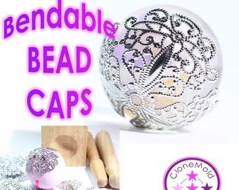 Bead Cap Bendable Wrap Large Silver Coloured Bead Caps  for Pendants;  49mm Vintage Filigree Flower Wraps Metal Brass