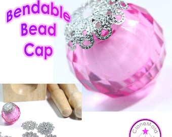 Bead Cap Bendable Wrap Medium Silver Coloured Bead Caps for Pendants;  17 mm Vintage Filigree Flower Wraps Metal Brass