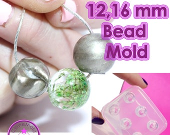Round Bead Mold Sphere Ball Globe Silicone Rubber; 6 Pieces; 12 or 16 mm