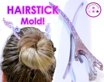 Hair Stick Mold; Branch Shape Hair Pin / Hair Fork /  Hairstick Silicone Rubber Mold