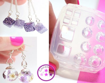 Stud Mold Sphere Cube Small Pendant Earring Silicone Rubber Mold; 6 mm 8 mm 10 mm 12 mm
