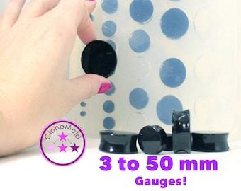 Plug Gauge Mold Multiple Ear Plug Piercing Silicone Rubber Mold, 3 mm - 50 mm