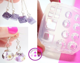 Small Sphere and Cube Earring Stud Mold; Silicone Rubber