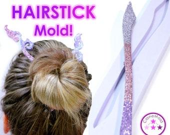 Hair Stick Mold; Pen Shape Hair Pin / Hair Fork /  Hairstick Silicone Rubber Mold
