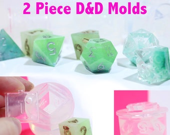 Dungeons and Dragons Gamer Dice  7 piece Set / Die Mold; 2 piece Silicone Rubber; D4, D6, D8, D10, D12, D20, D100