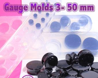 Plug Gauge Mold Multiple Tunnel Flat End  Ear Plug Piercing Silicone Rubber Mold; 3 mm - 30 mm