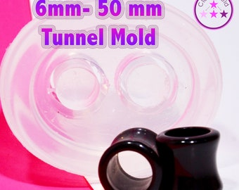 Tunnel Plug Gauge Mold  Ear Piercing Silicone Rubber Mold; 3 mm - 50 mm