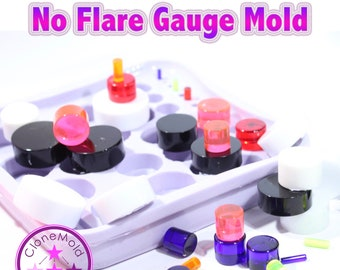 Plug Gauge No Flare Mold Multiple Ear Plug Piercing Silicone Rubber Mold, 3 mm - 32 mm