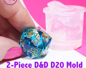 D20 Dungeons and Dragons Gamer Dice / Die Mold; 2 piece Silicone Rubber