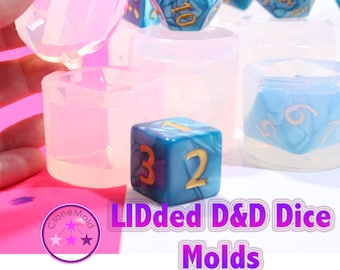 GIANT Lidded Dungeons and Dragons Gamer Dice / Die Mold Silicone Rubber; 2 piece; D4, D6, D8, D10, D12, D20