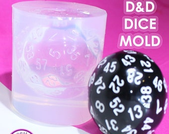 D60 D&D Dungeons and Dragons Gamer Dice / Die Mold Silicone Rubber