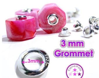 925 Sterling Silver or Plated silver stamped 3 mm Grommet Jewellery Bead Eyelet  (3 mm)