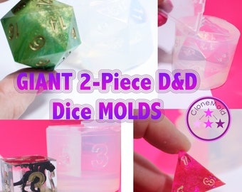 GIANT Dungeons and Dragons Gamer Dice / Die Mold Silicone Rubber; 2 piece; D4, D6, D8, D10, D12, D20