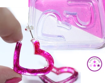 Heart Hoop Mold Earring Silicone Rubber Mold
