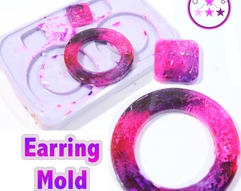 Circle Earring Mold 4 Piece Round Dangle Circle Silicone Rubber Mold