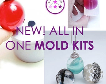 Silicone Mold Sphere Pendant, Bead Caps, Sanding/Polishing Kit, Epoxy Glue and 5 Pipettes; All IN ONE