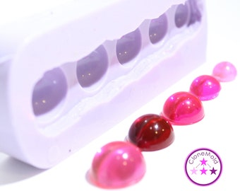 Dome Cabochon Silicone Rubber Mold; Fits a 16 mm, 15 mm, 14 mm, 12 mm, 10 mm Blank Bezel