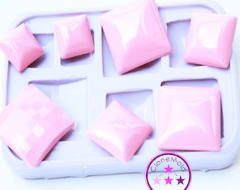 Square Pendant/Cabochon/Earring Silicone Rubber Mold; 15 mm x 15 mm x 2 mm, 20 mm x 20 mm x 2 mm, 25 mm x 25 mm x 2 mm, facetted 24.5 mm