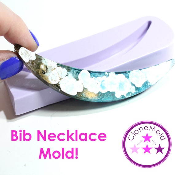 Bib Necklace Mold Moon Shape; Silicone Rubber Mold