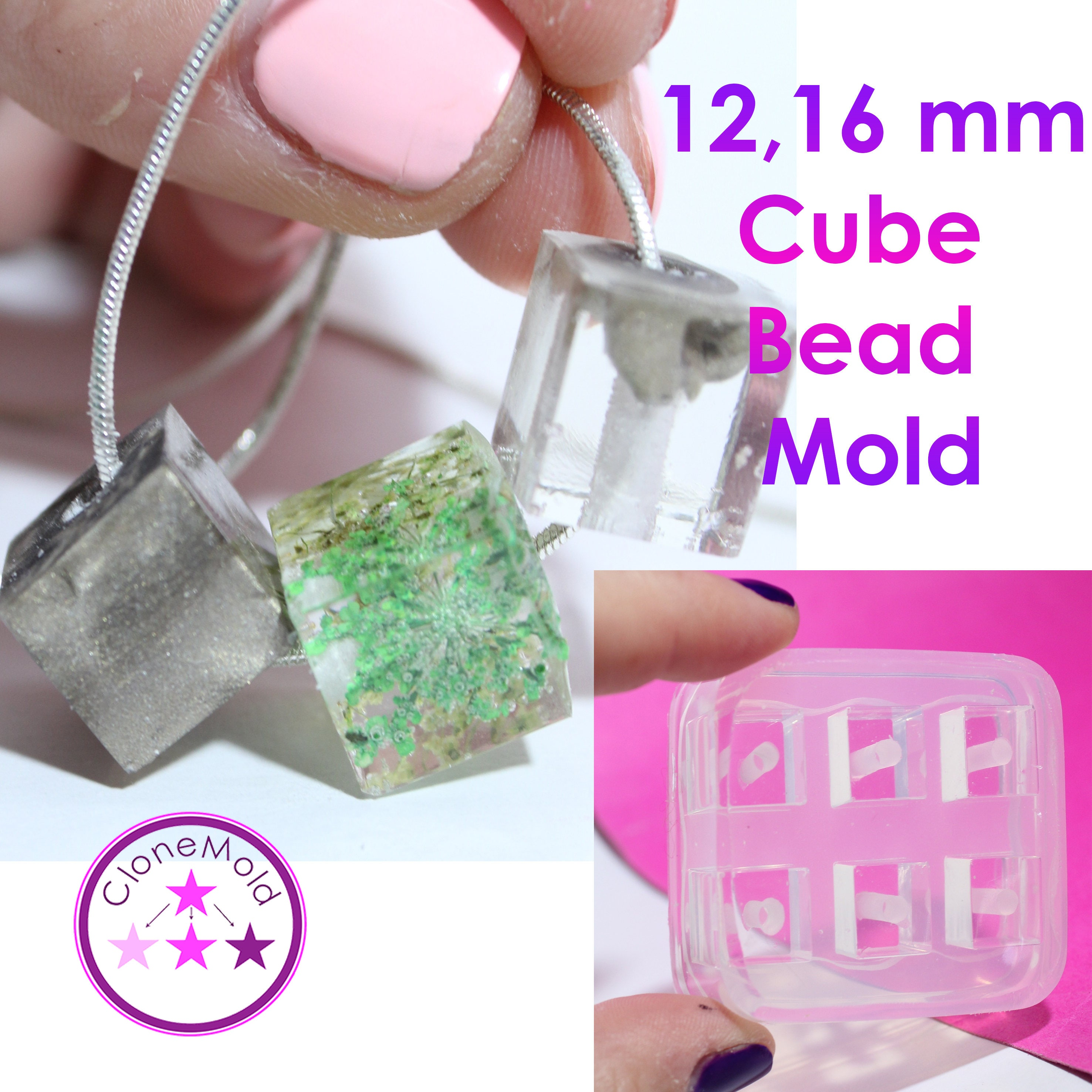 Cube Bead Mold Square Silicone Silicone Silicone Rubber; 6 Pieces; 12 or 16 mm fb6856