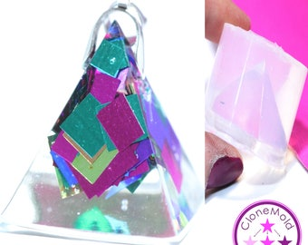 Small Pyramid Pendant Mold;  Etched Beveled Triangle Silicone Rubber Mold