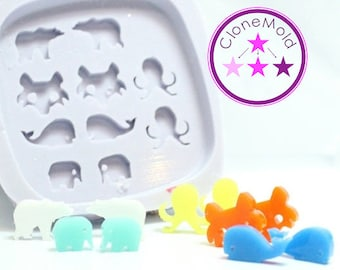 Stud Mold Zoo, Sea and Wildlife Earring Stud Silicone Rubber Mold